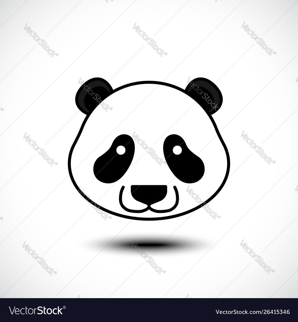 Cute panda face isolated on white background