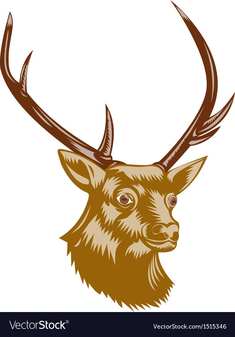 Deer Stag Buck Woodcut Retro