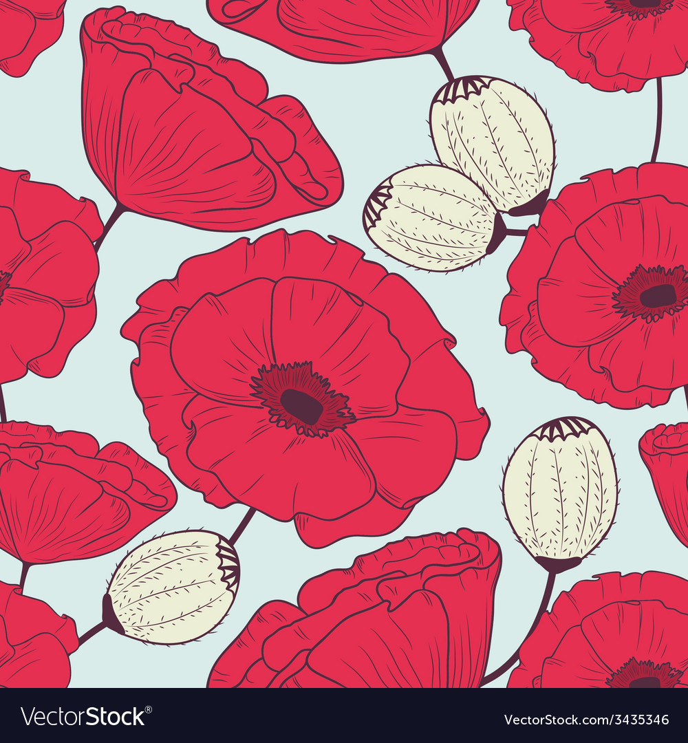 Floral poppyes seamless pattern