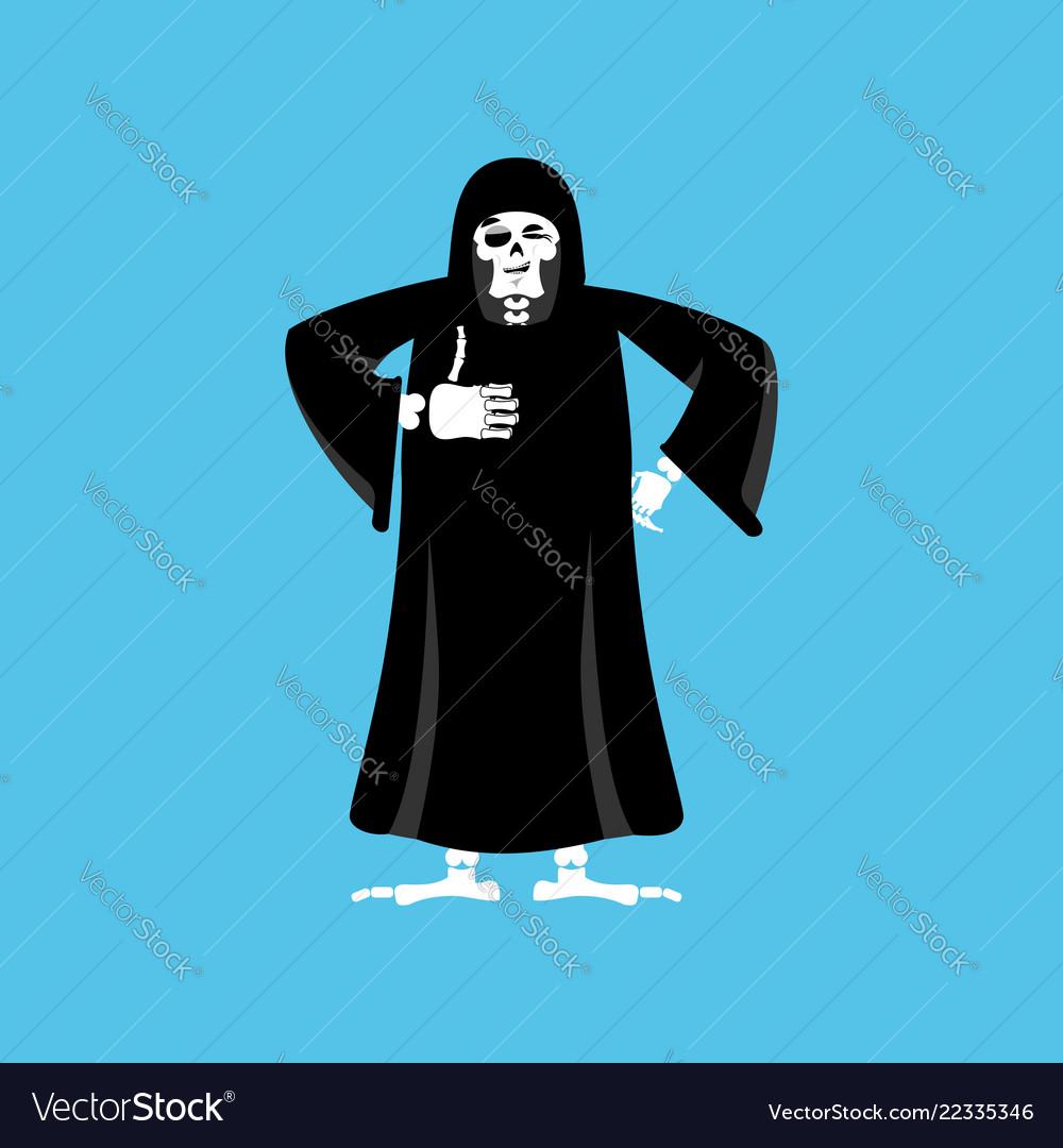 Grim reaper thumbs up death winks skeleton in