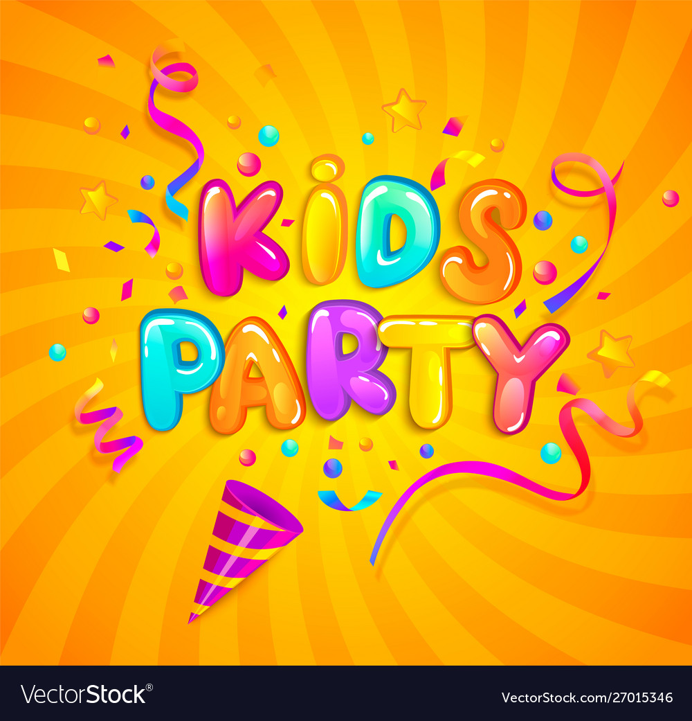 Kids party banner with party cracker and confetti