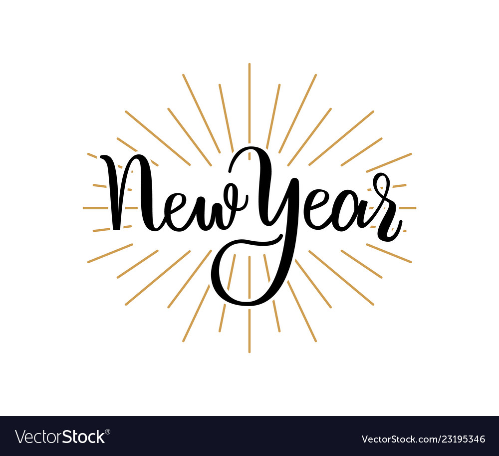 New year lettering handdrawn text merry christmas