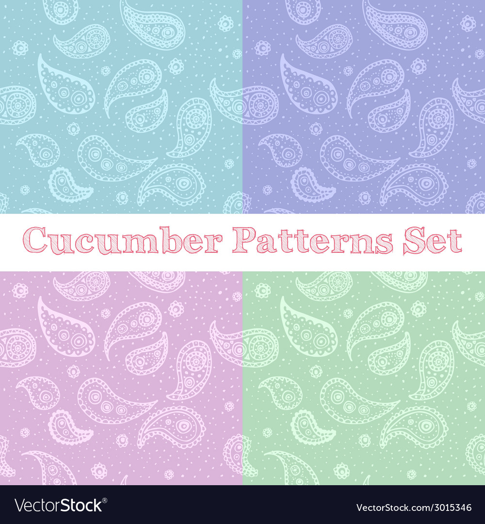 Paisley seamless patterns set in pastel colors