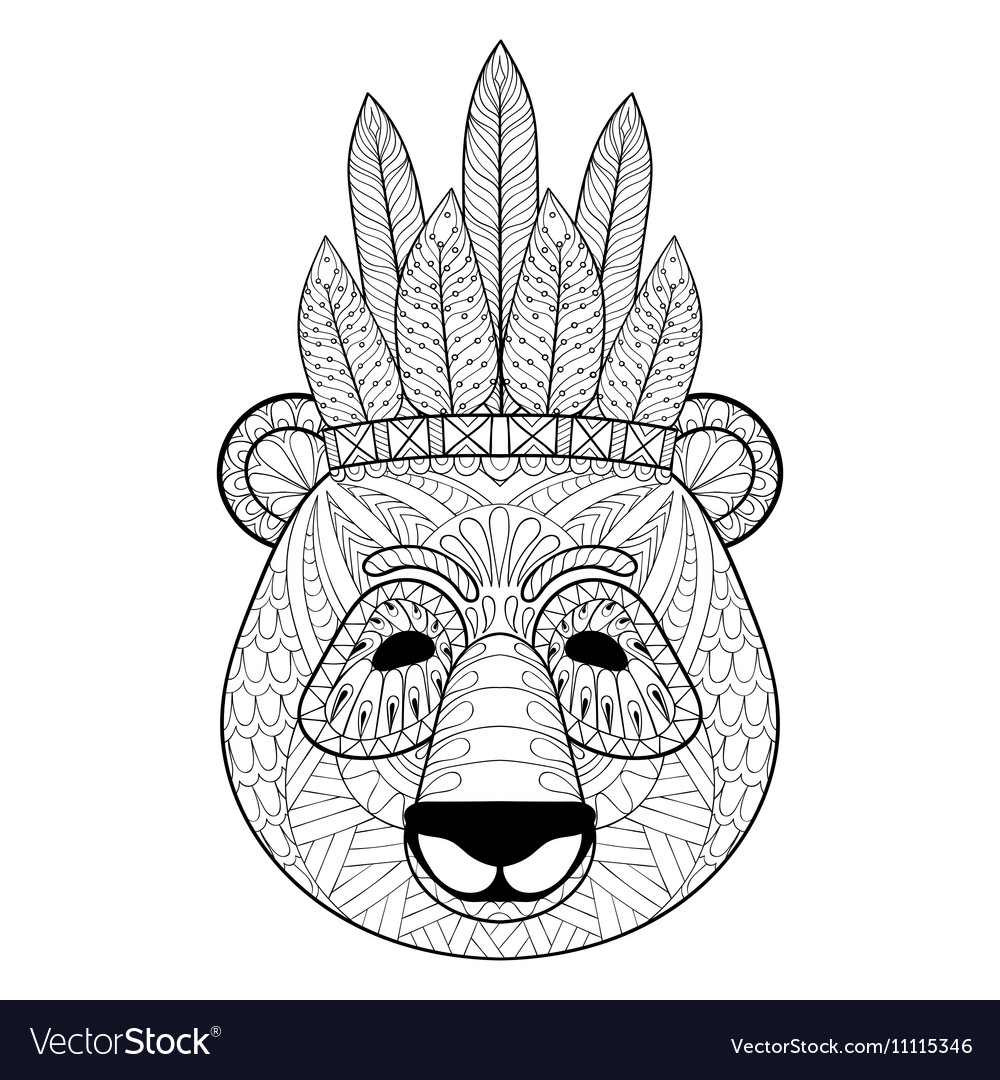 Panda with warbonnet in zentangle style Freehand