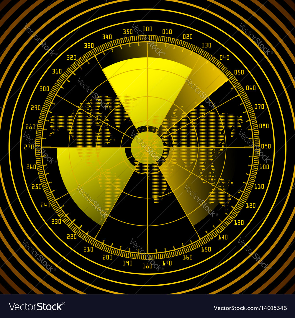 Radar screen with radioactive sign vector image