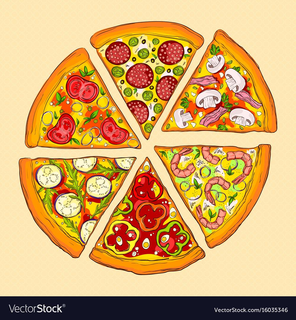 six pieces of delicious pizza royalty free vector image rh vectorstock com pizza vector free pizza vector art