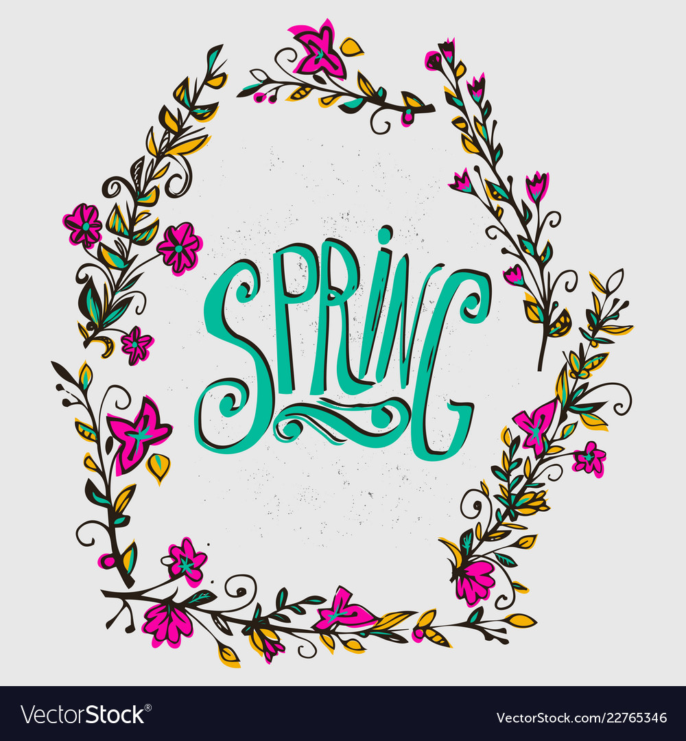 Spring card with floral wreath spring word and