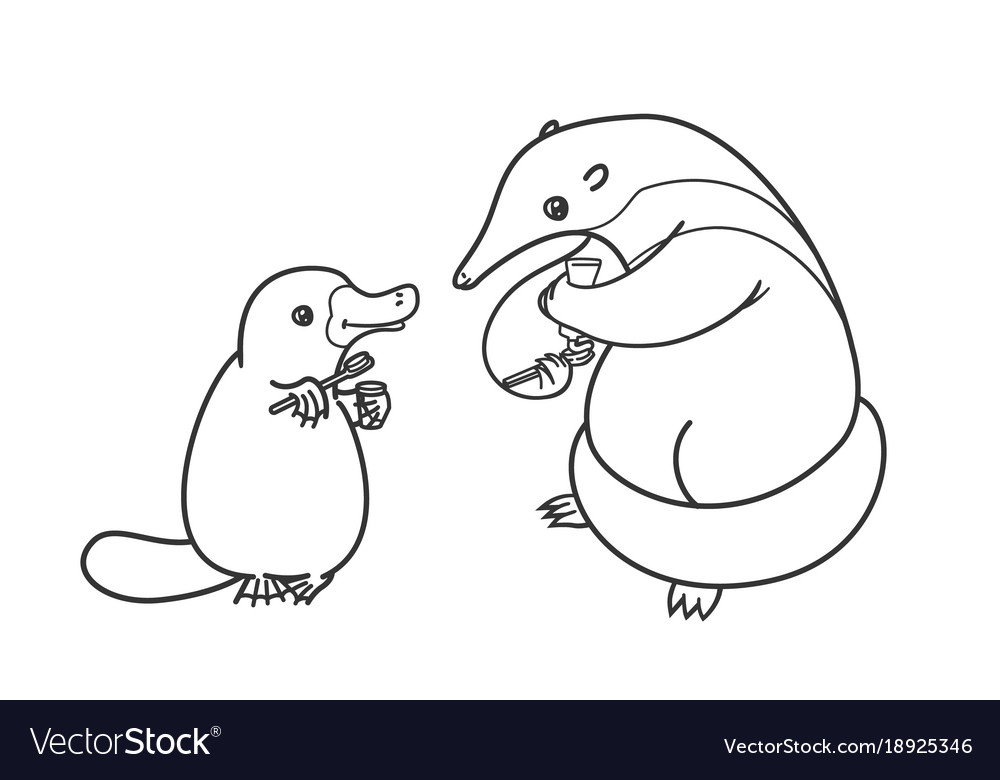 The ant-eater and the platypus coloring Royalty Free Vector