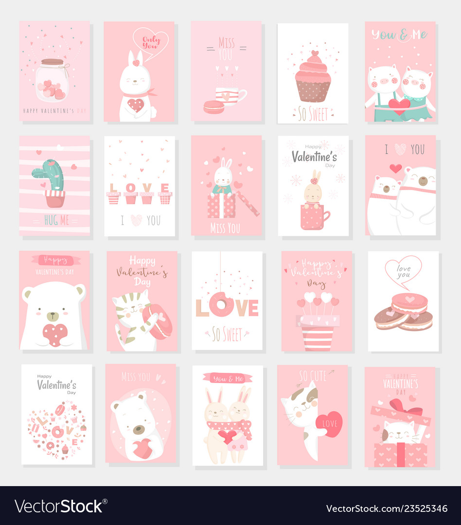 Valentines day background with cute baby animal
