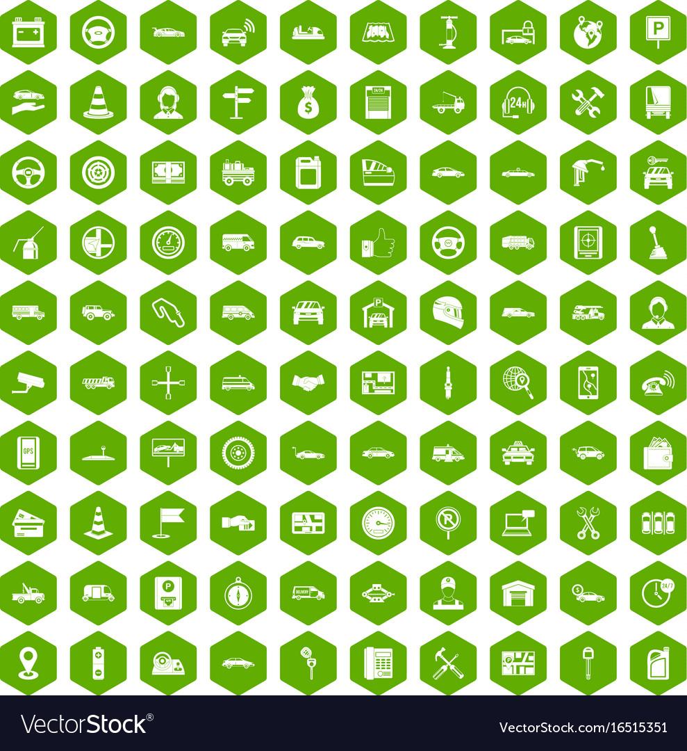 100 auto icons hexagon green