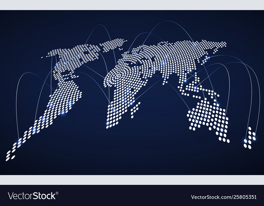 Abstract world map with glowing radial dots
