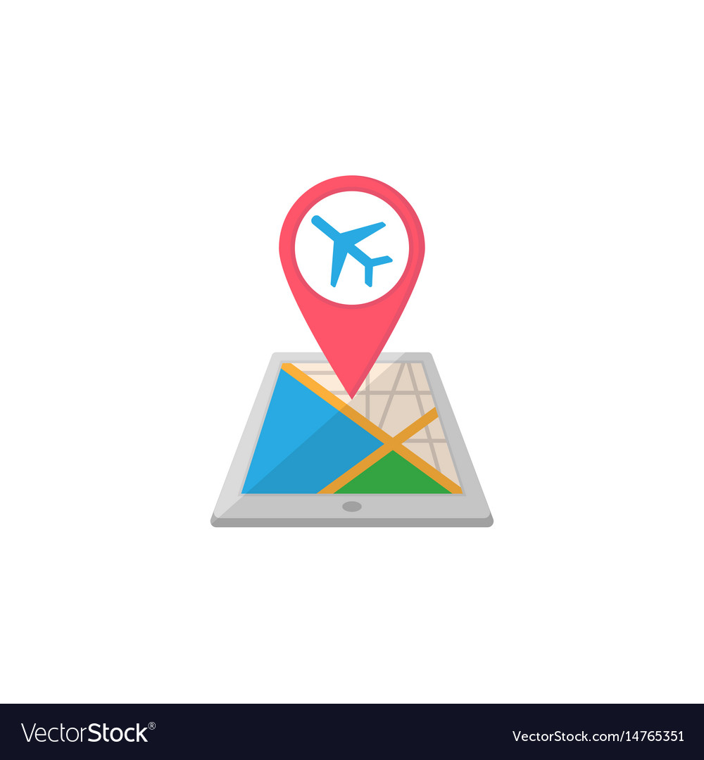 Airport map pointer flat icon mobile gps