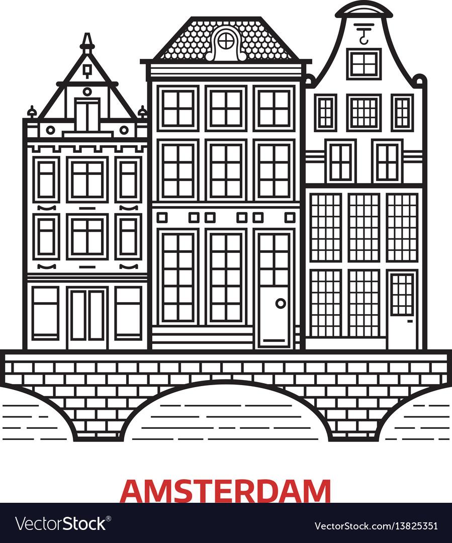 Amsterdam landmark icon vector image