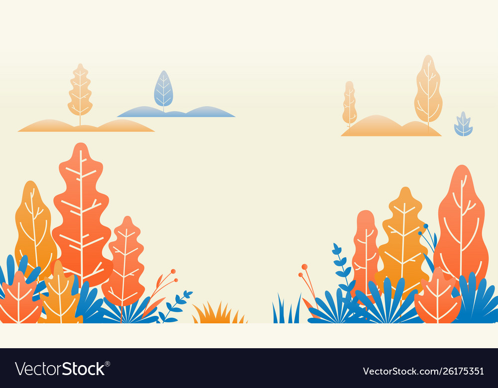 Autumn forest nature leaves flat