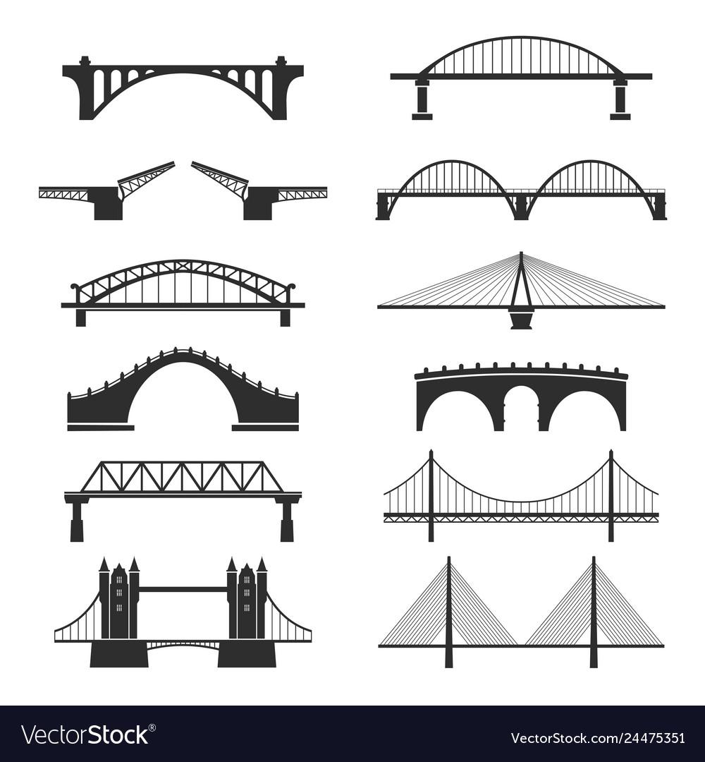 Bridge urban construction set city landmark view