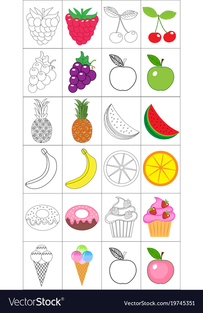 - Coloring Book Page Set Fruits Collection Sketch Vector Image
