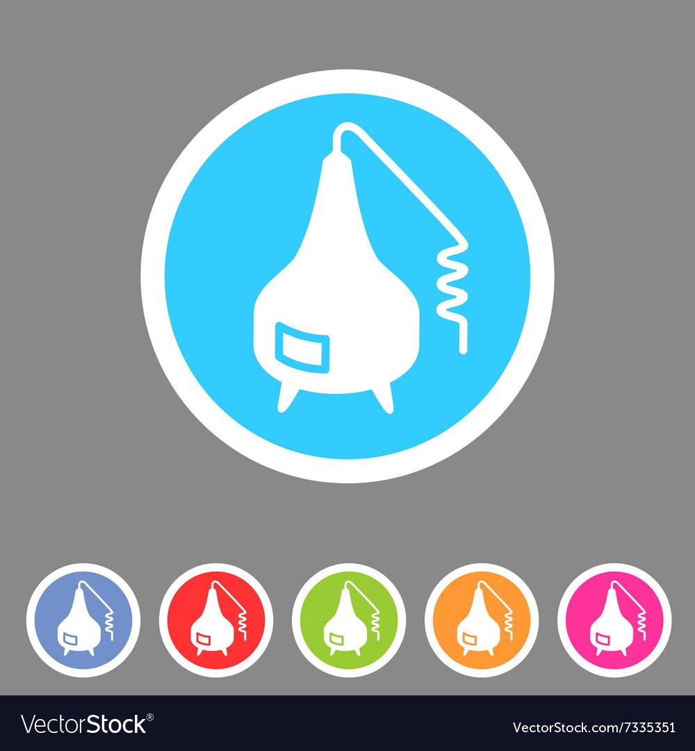 Distillation apparatus icon flat web sign symbol vector image