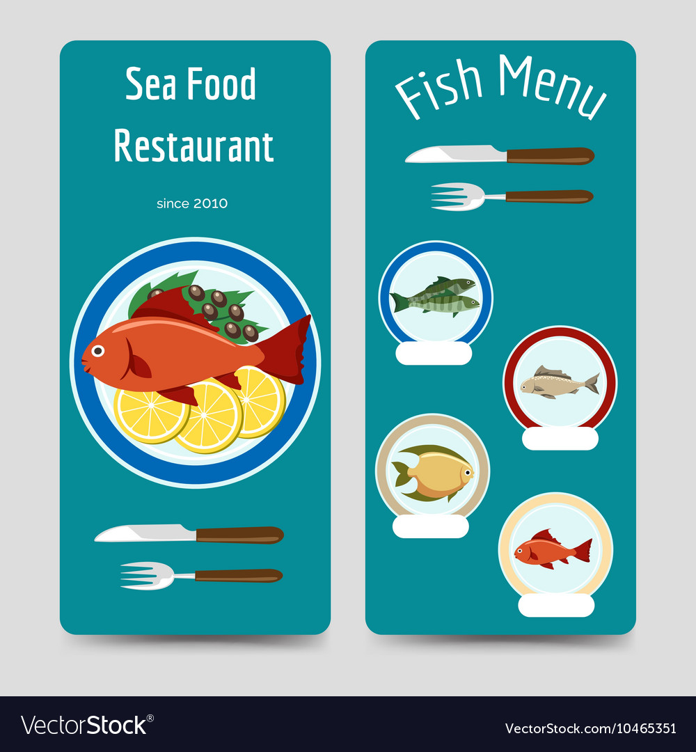 Fish menu flyers template