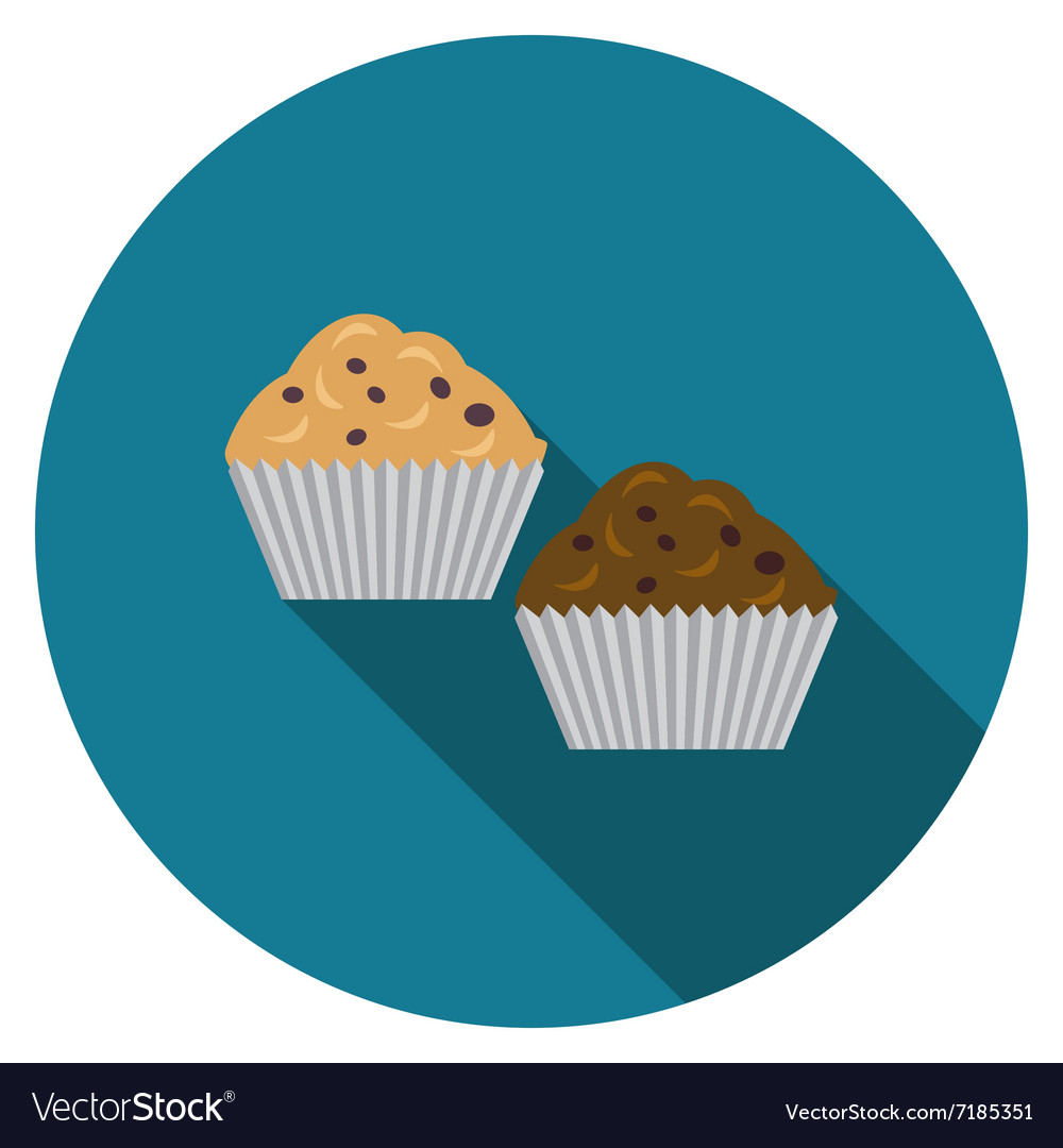 Flat design muffins icon with long shadow isolated