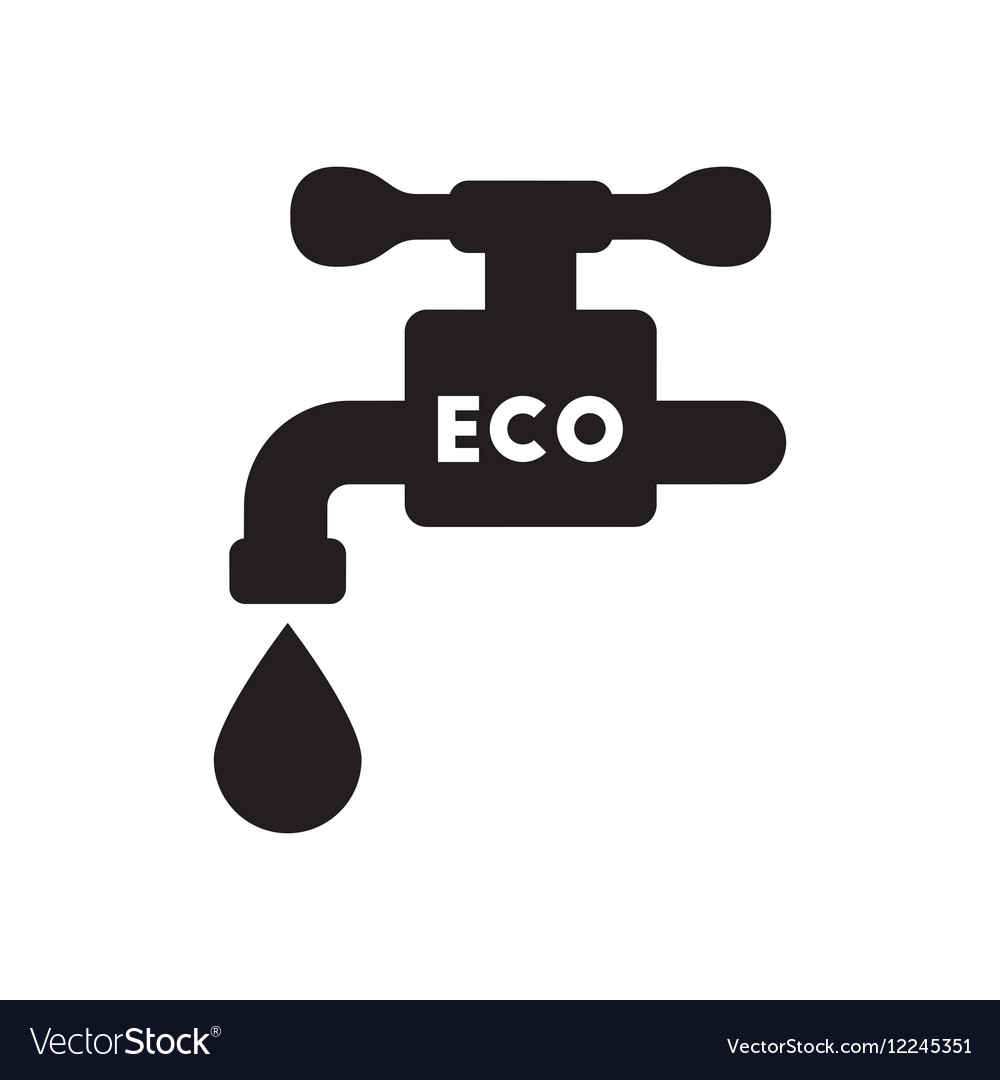 Flat icon in black and white water faucet Vector Image