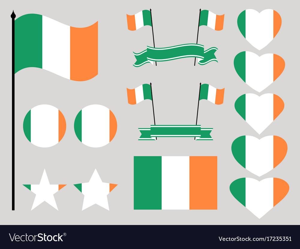 Ireland flag set collection of symbols heart