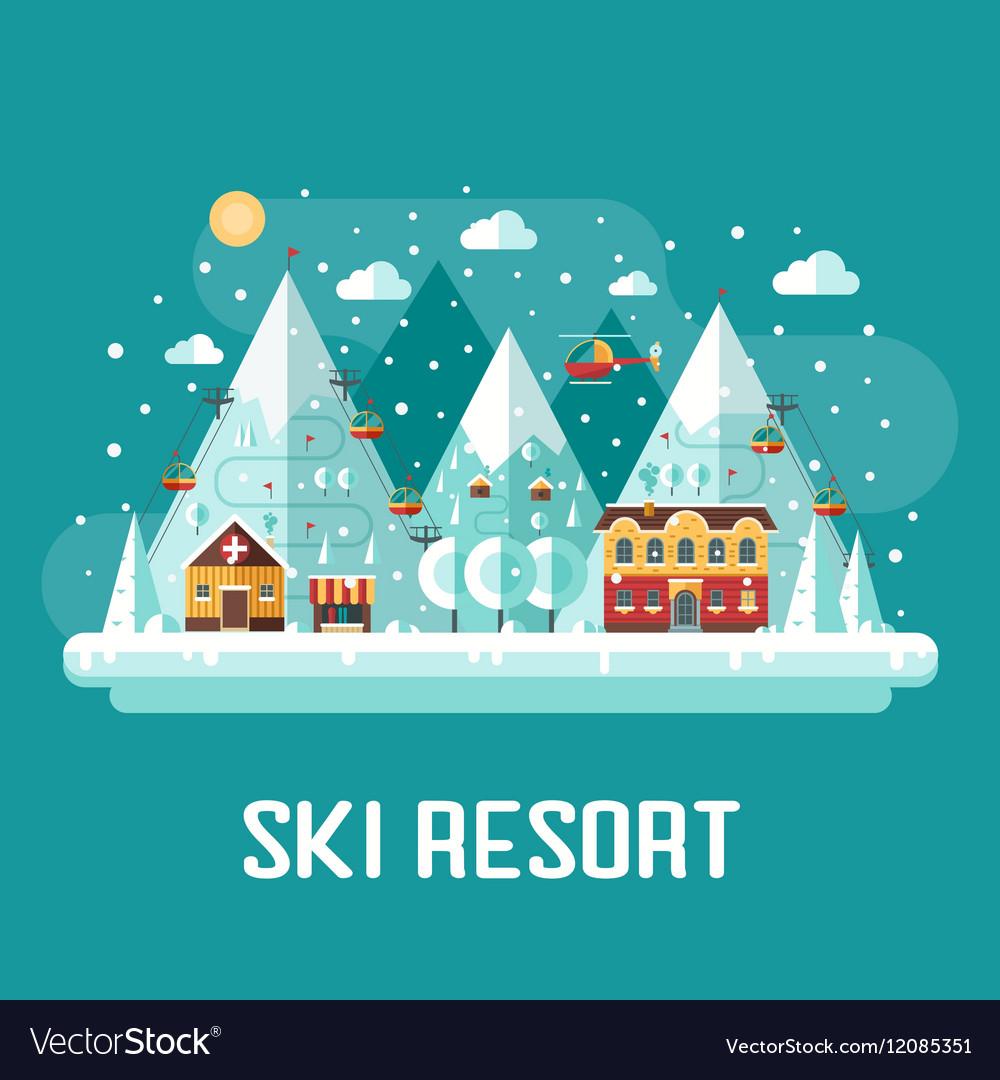 Mountains Ski Resort Landscape