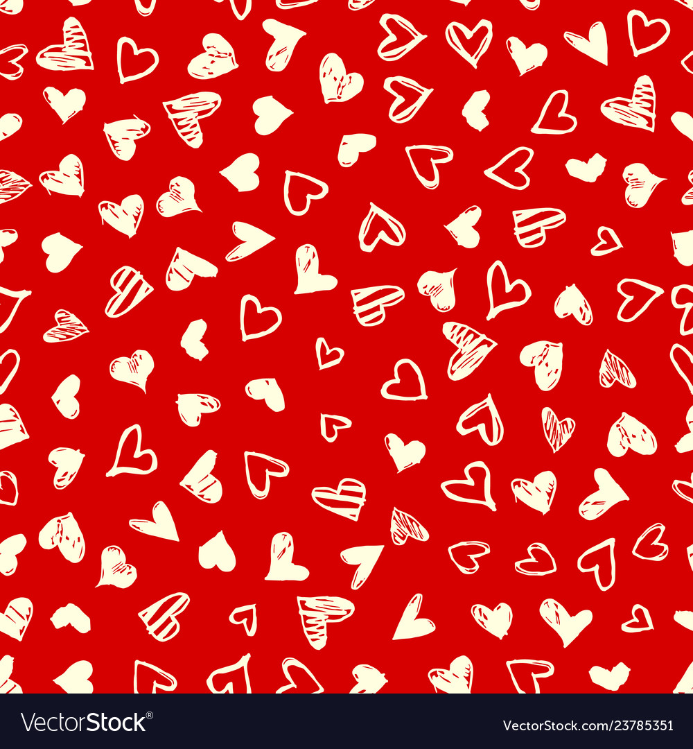 Seamless pattern with hand drawn doodle hearts