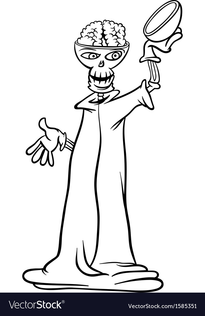 Skeleton cartoon for coloring book Royalty Free Vector Image