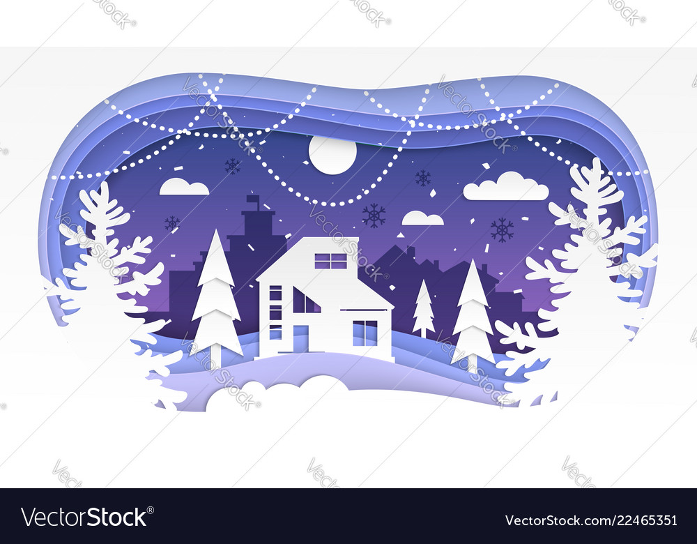 Winter landscape - modern paper cut