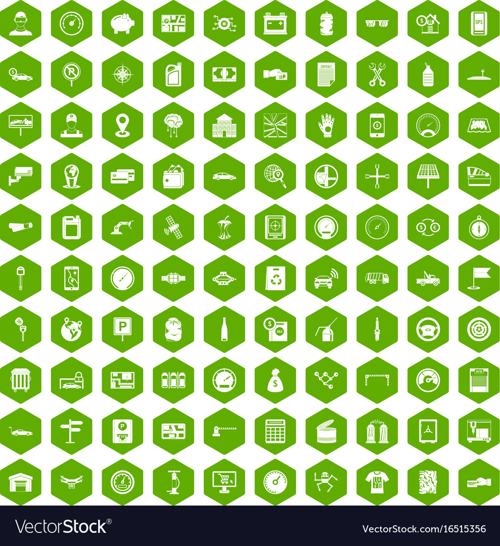 100 auto repair icons hexagon green vector image