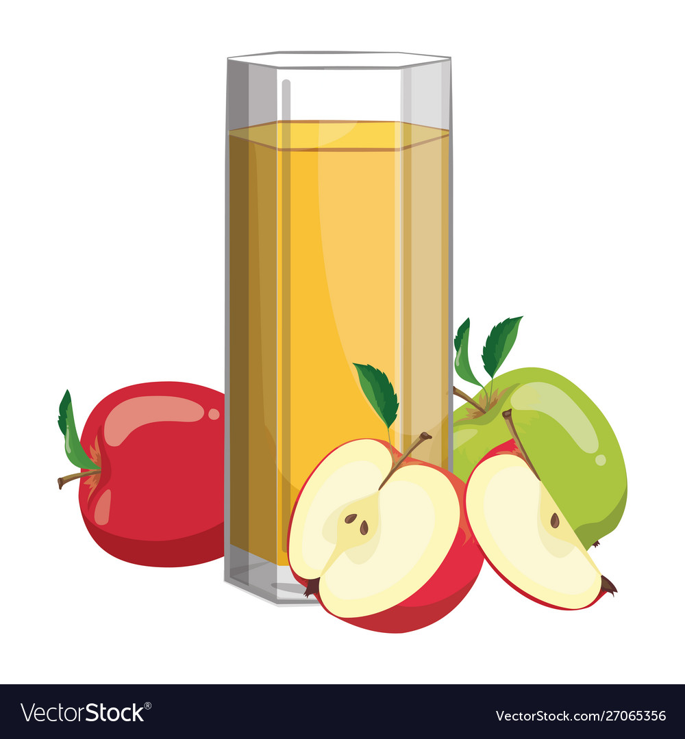 A glass fresh apple juice vitamin refreshing