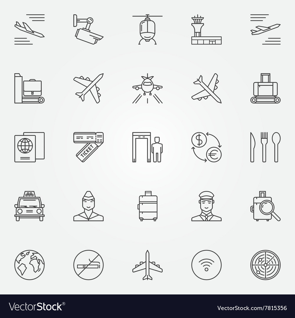 Airport icons set - thin line air travel