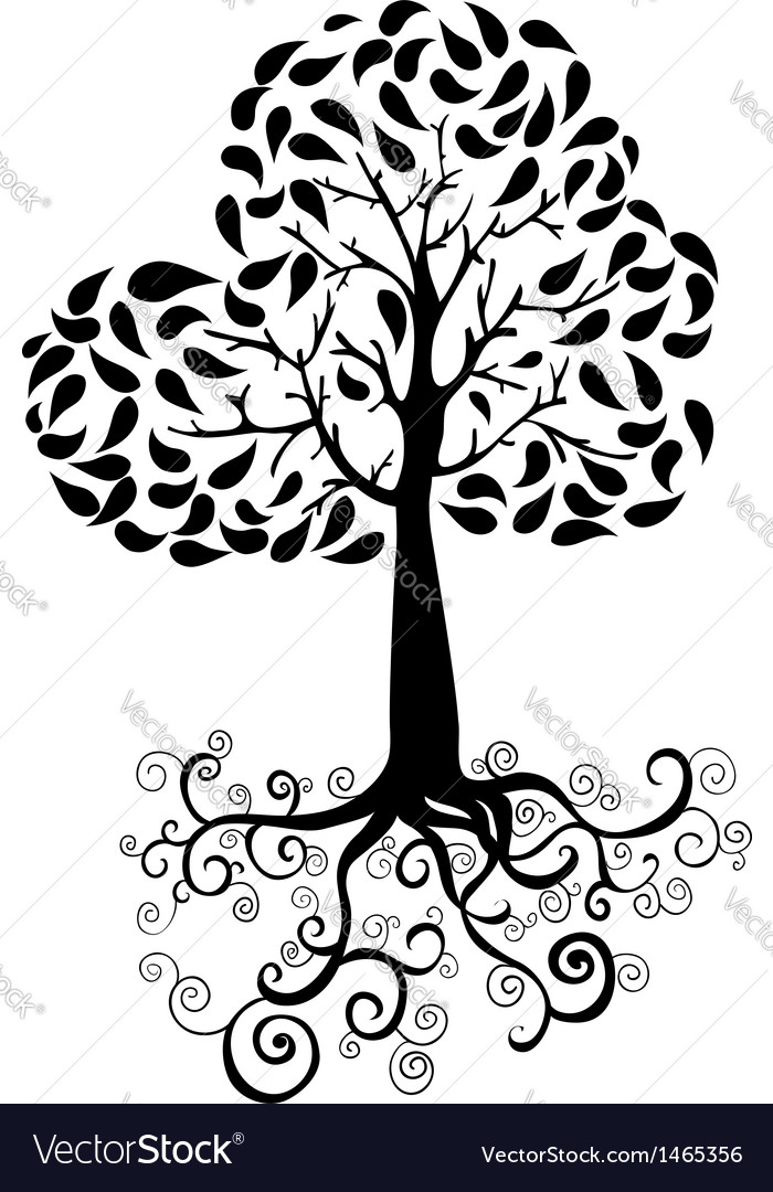 Autumn tree silhouette vector image