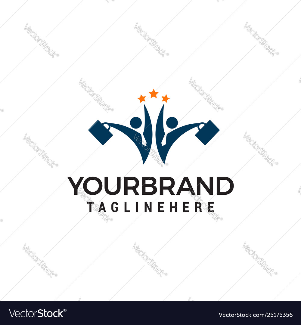 Business two people star logo design concept