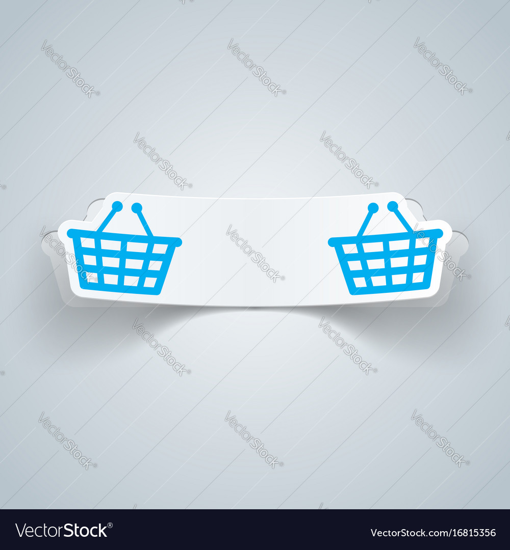 Cart buy shop icon origami cut paper