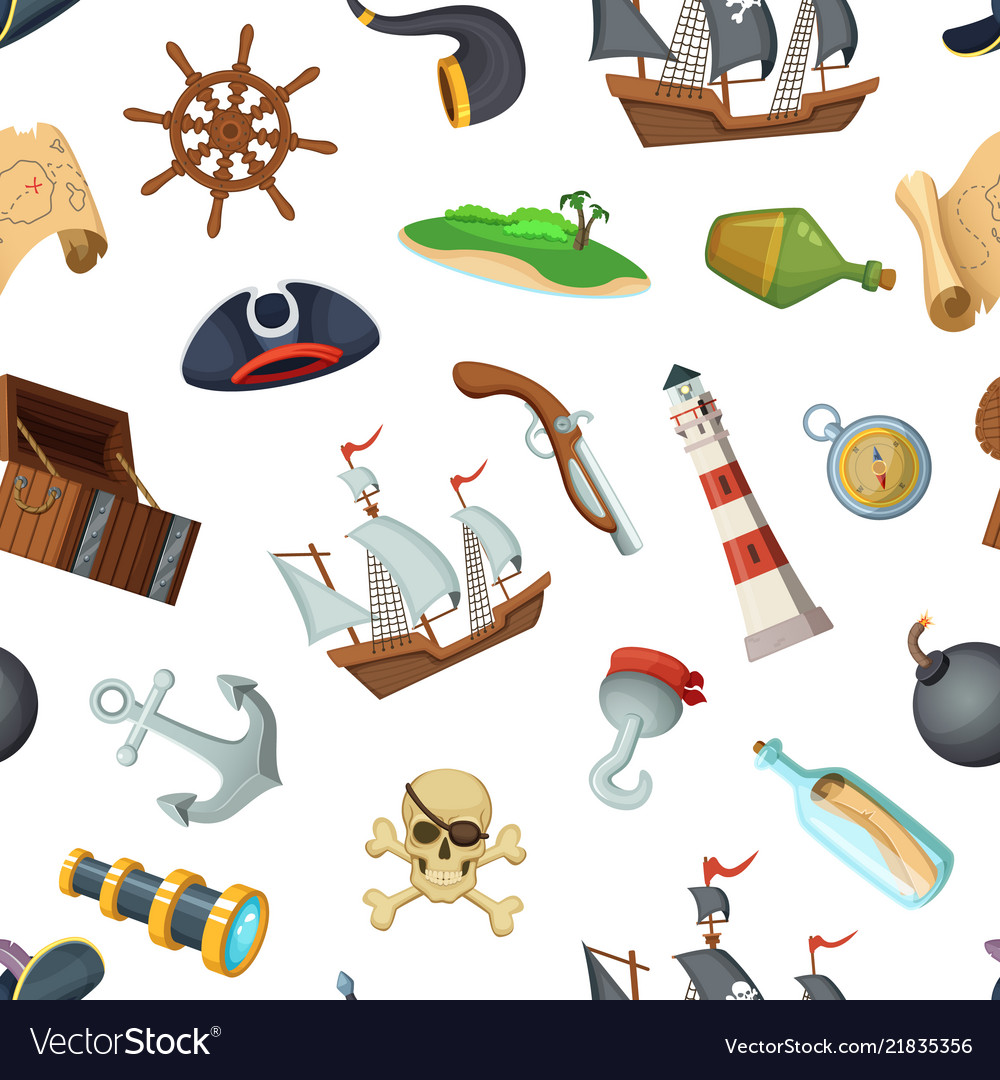 Cartoon sea pirates pattern or background