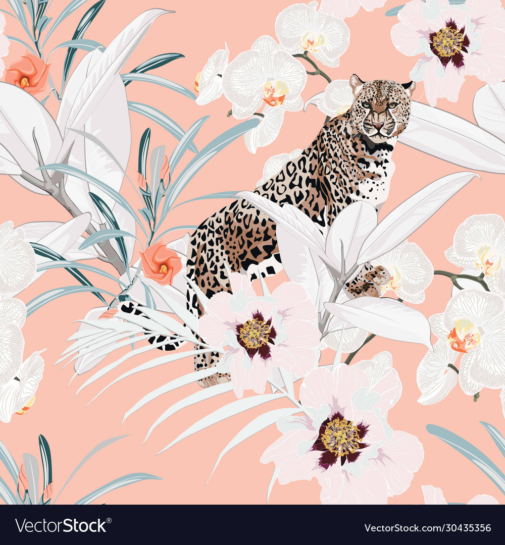 Colorful floral pattern with tiger leopard