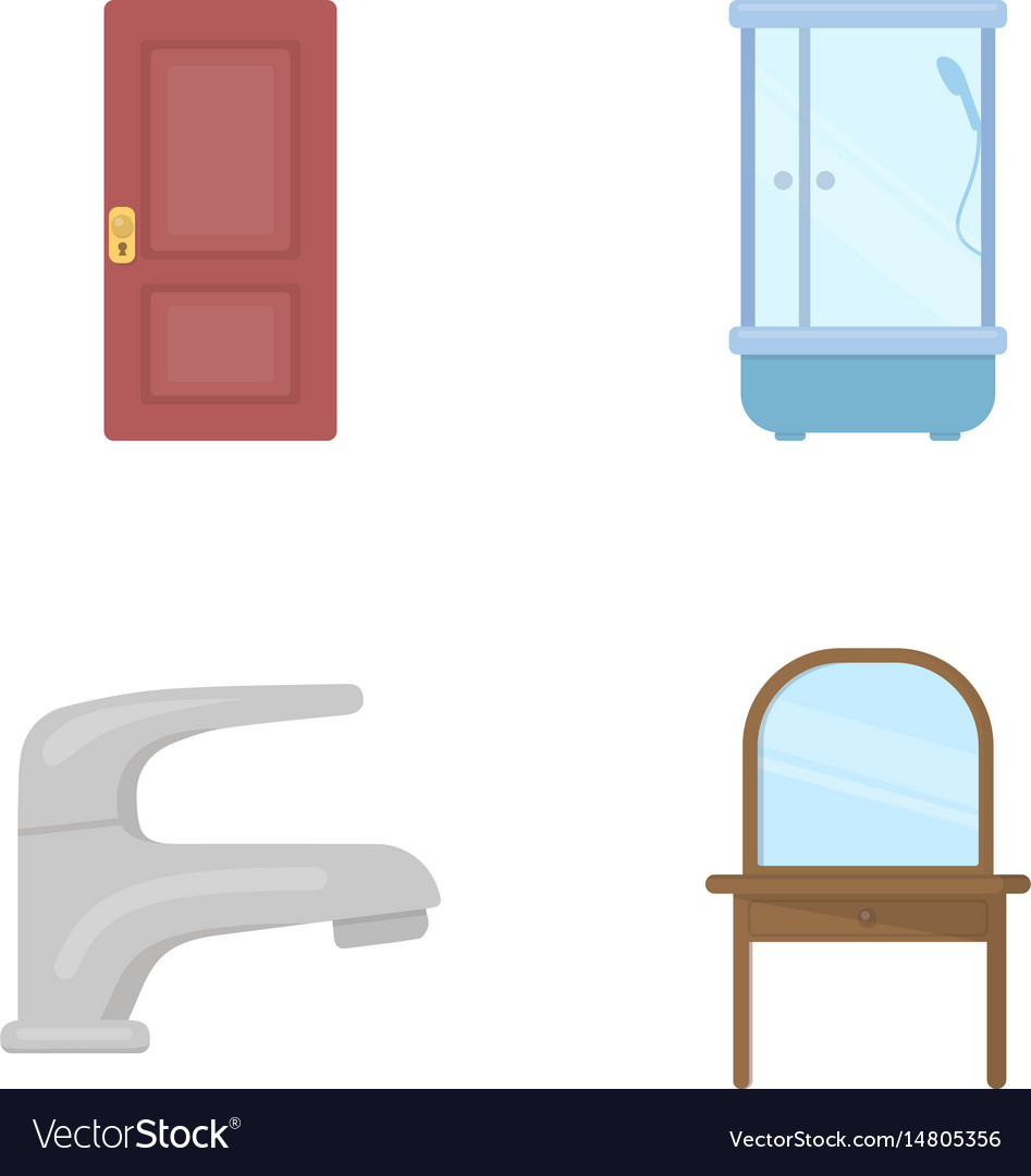 Door shower cubicle mirror with drawers faucet Vector Image
