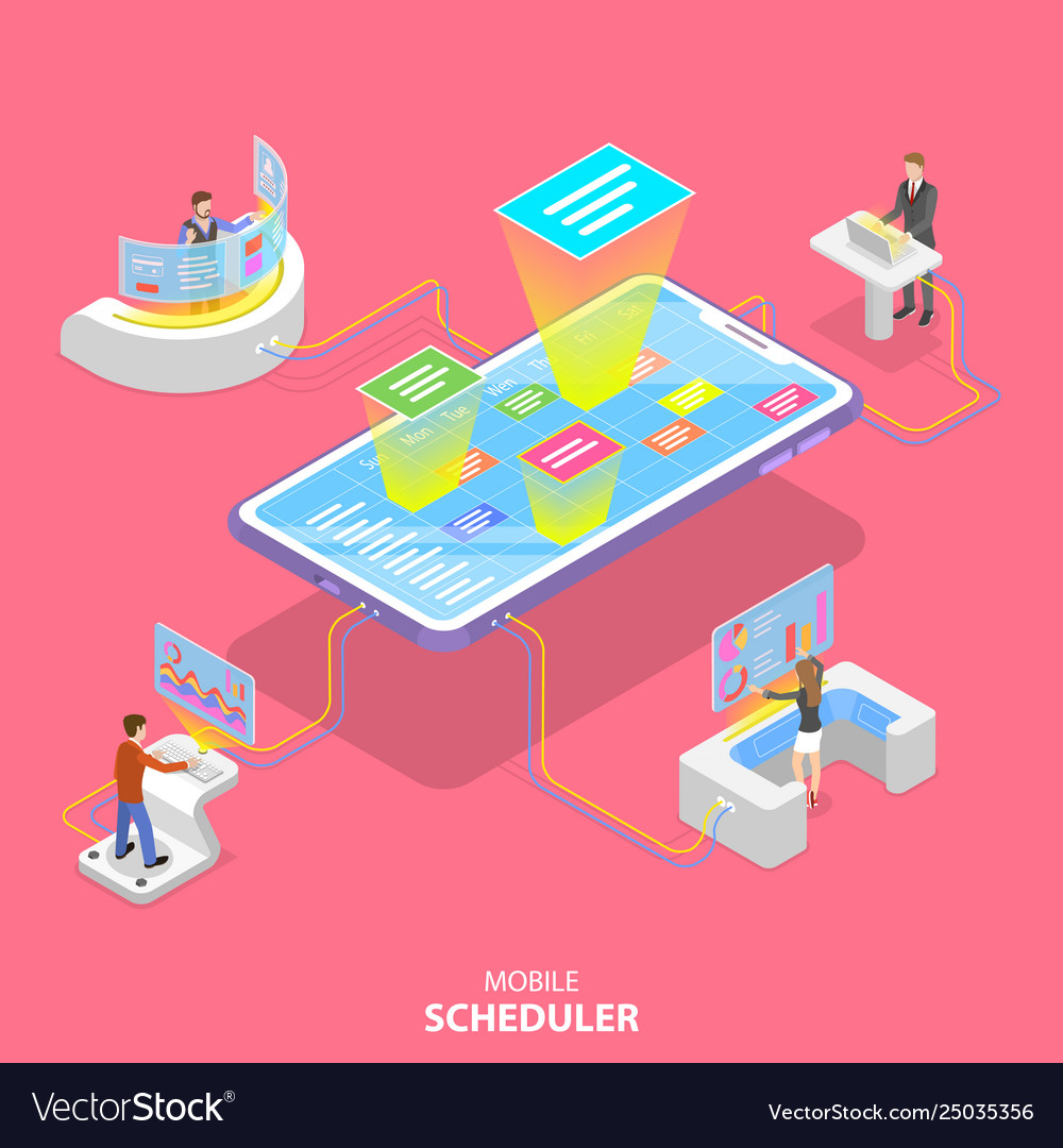 Flat isometric concept mobile scheduler
