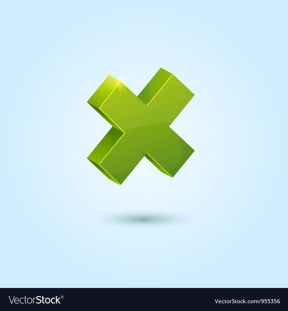 Green X mark symbol isolated on blue background vector image