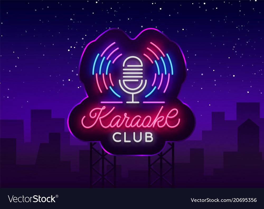 Karaoke club logo in neon style neon sign bright vector image
