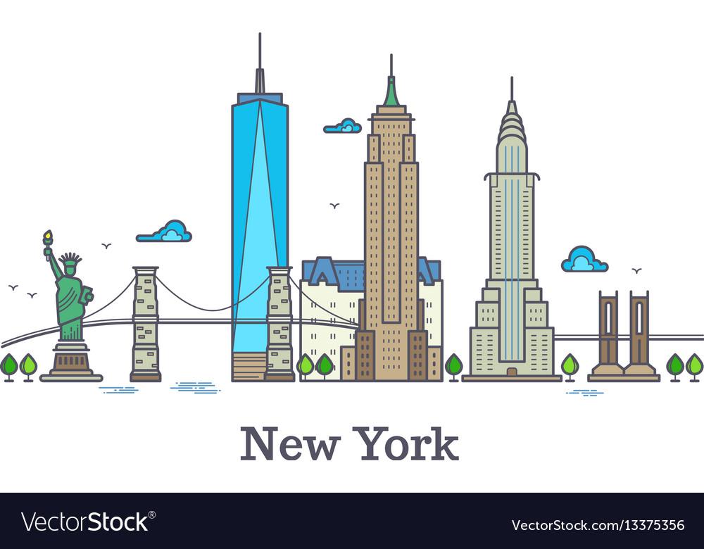 New york line symbol nyc silhouette