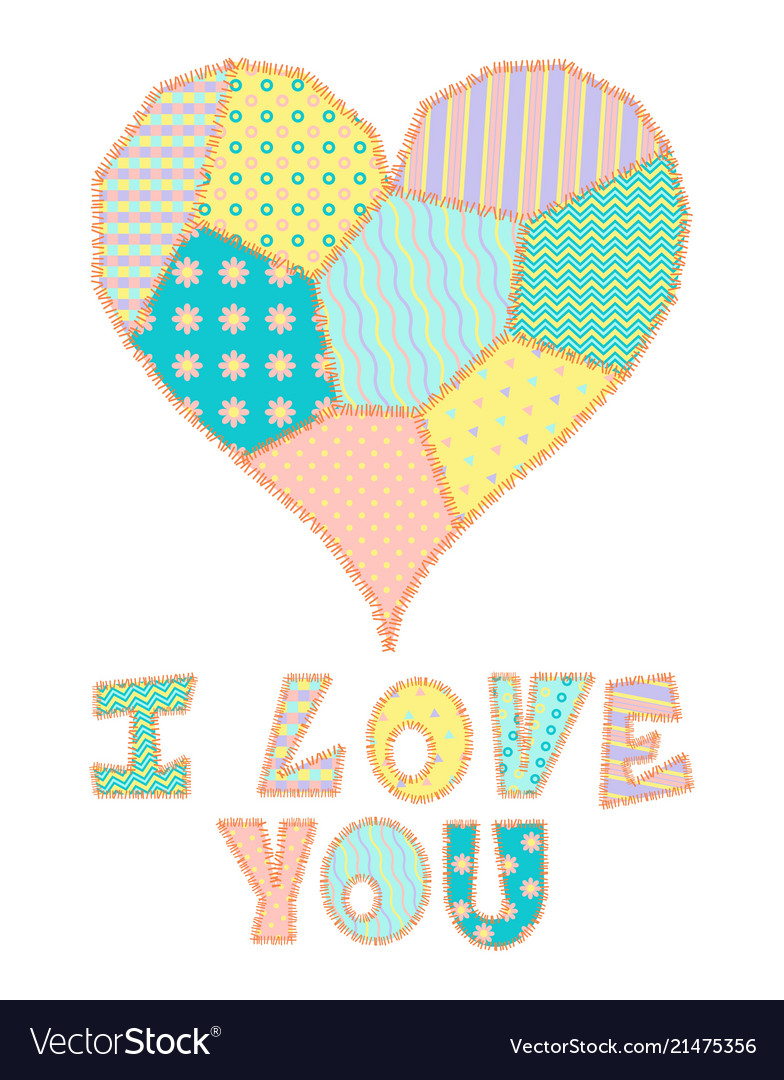 Patchwork heart and text