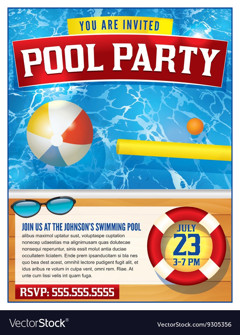 Pool Party Invitation Template Royalty Free Vector Image