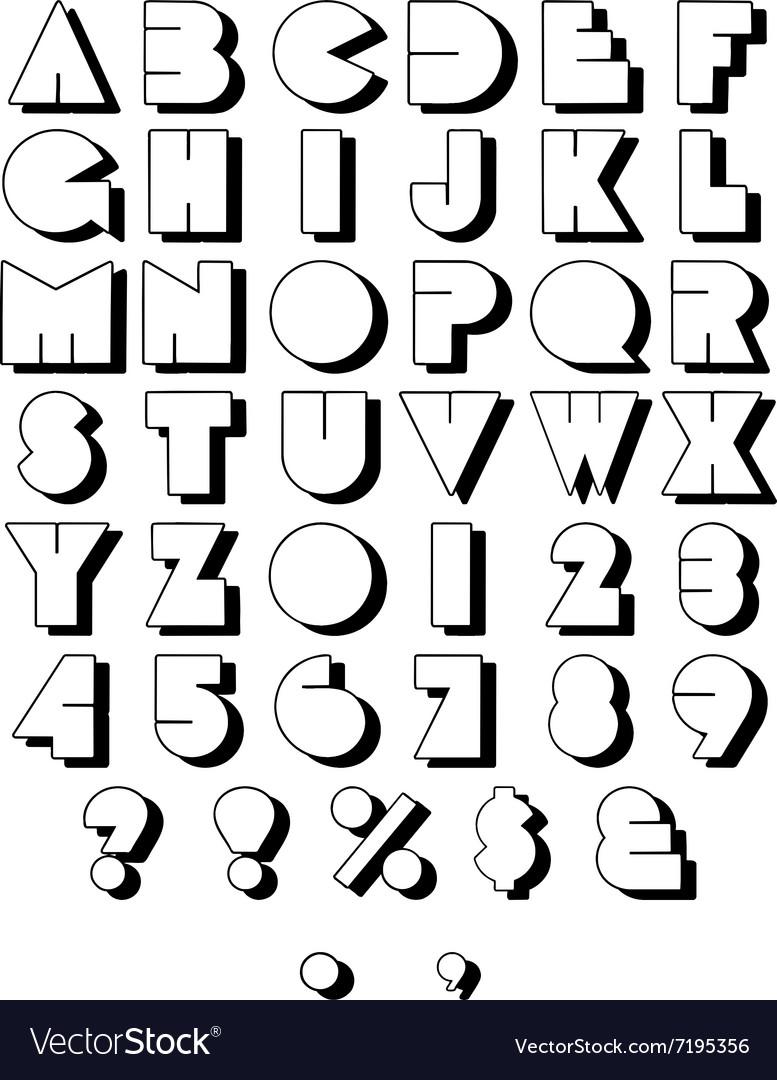 Retro Block Font Outline vector image