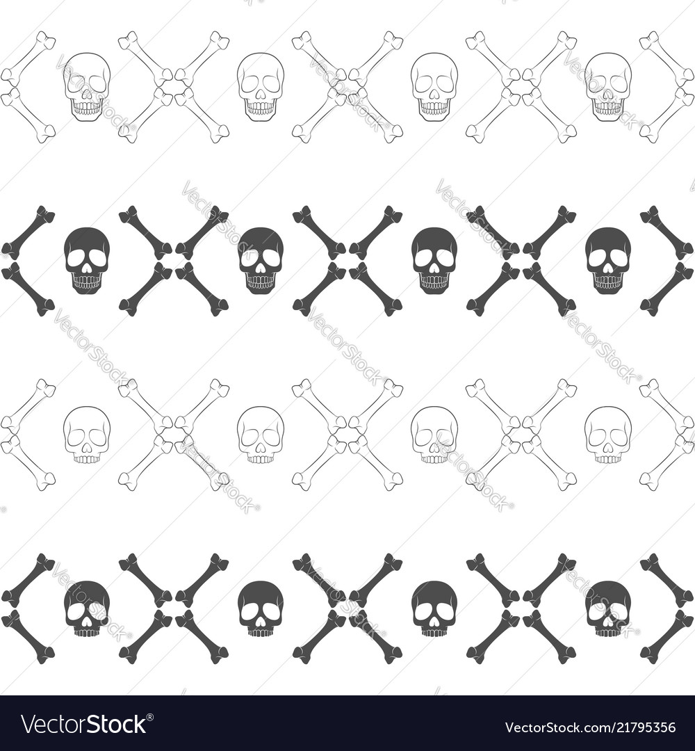 Seamless horizontal patterns with skull and bones