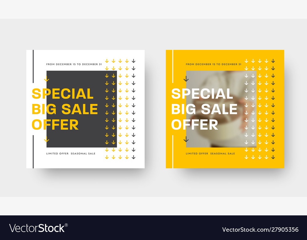 Special offer square banner template with yellow