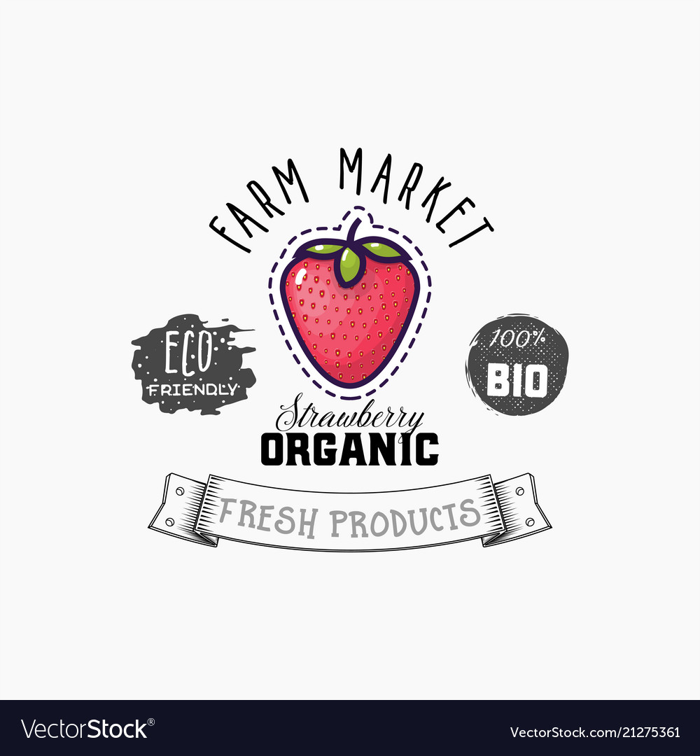 Bio sticker and eco products strawberry web