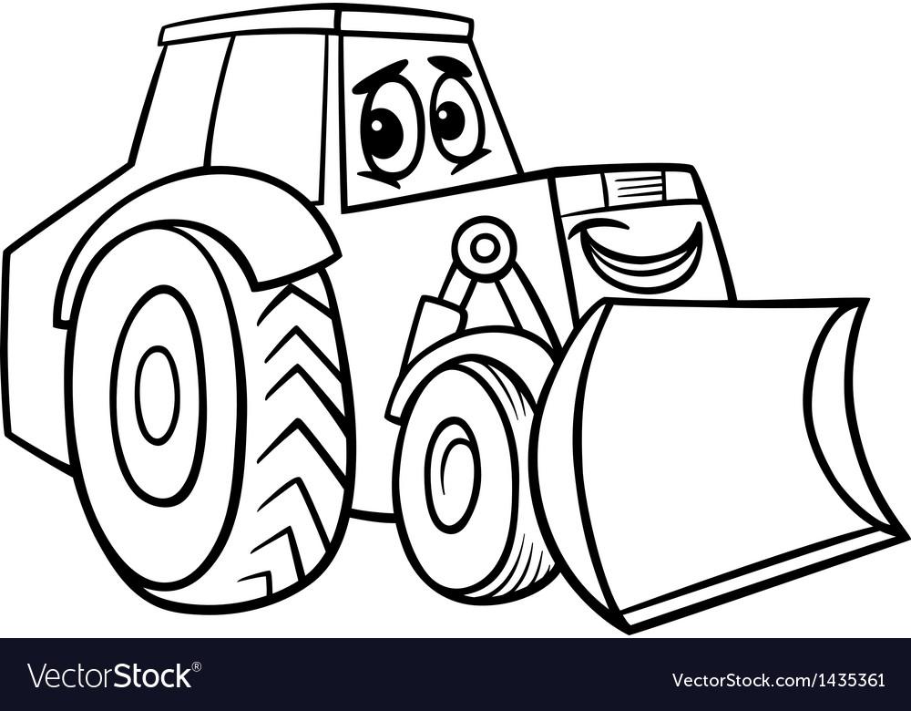 Bulldozer cartoon for coloring book vector image