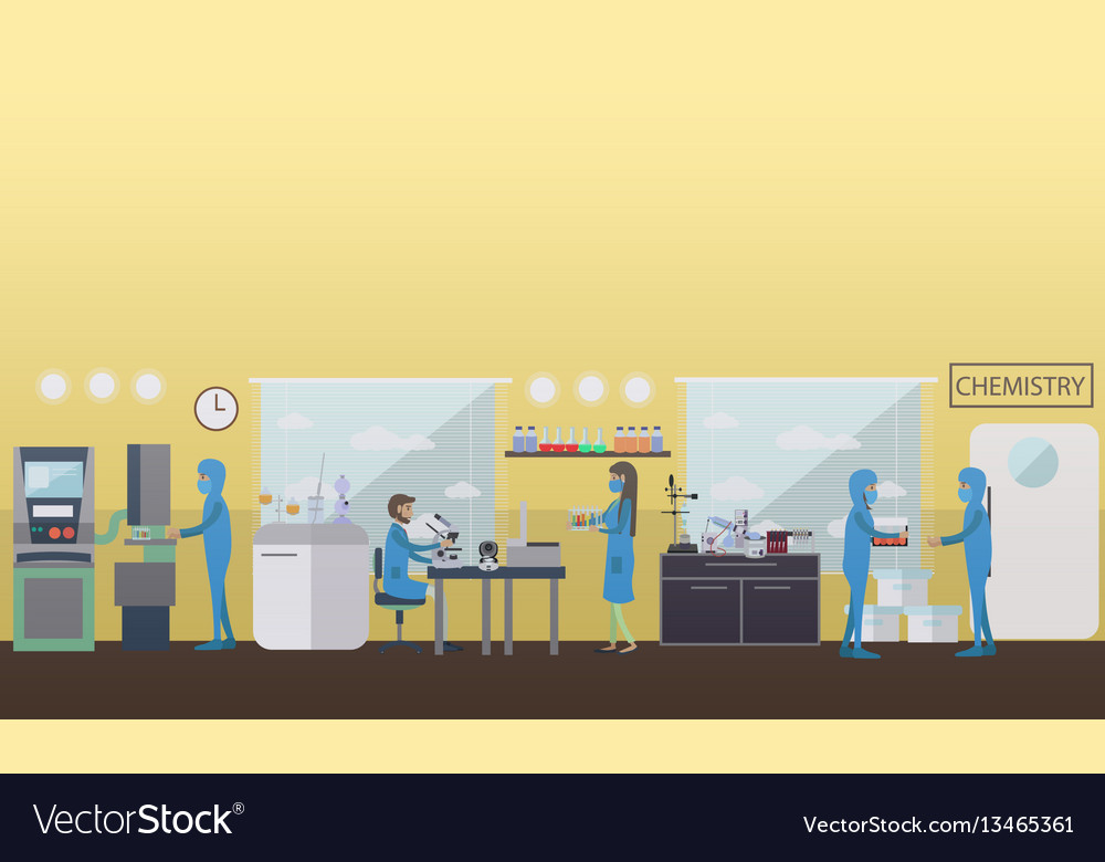 Chemistry concept in flat vector image